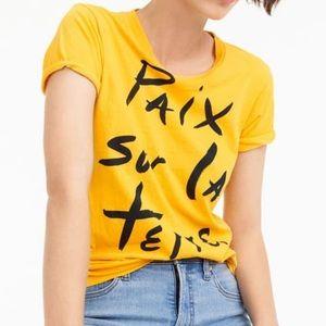 J Crew 'Paix Sur la Terre' Yellow Shirt size Large